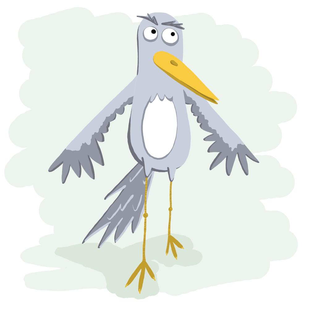 Grumpy bird waving - image 2 - student project