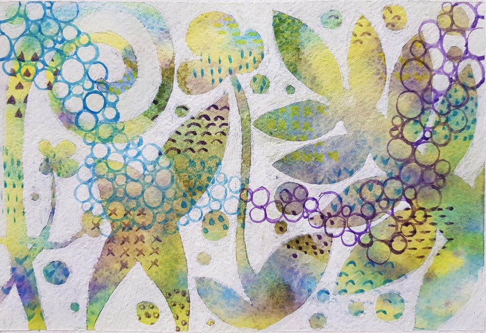 Abstract floral watercolor painting - image 1 - student project