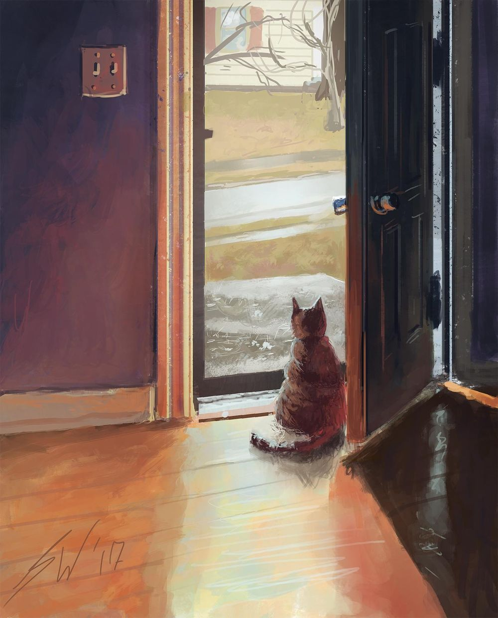 Cat Looking out Door (sketch to digital painting) - image 2 - student project