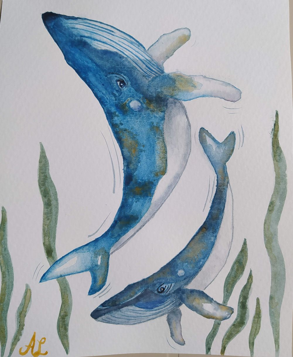 Whale and whale calf - image 1 - student project