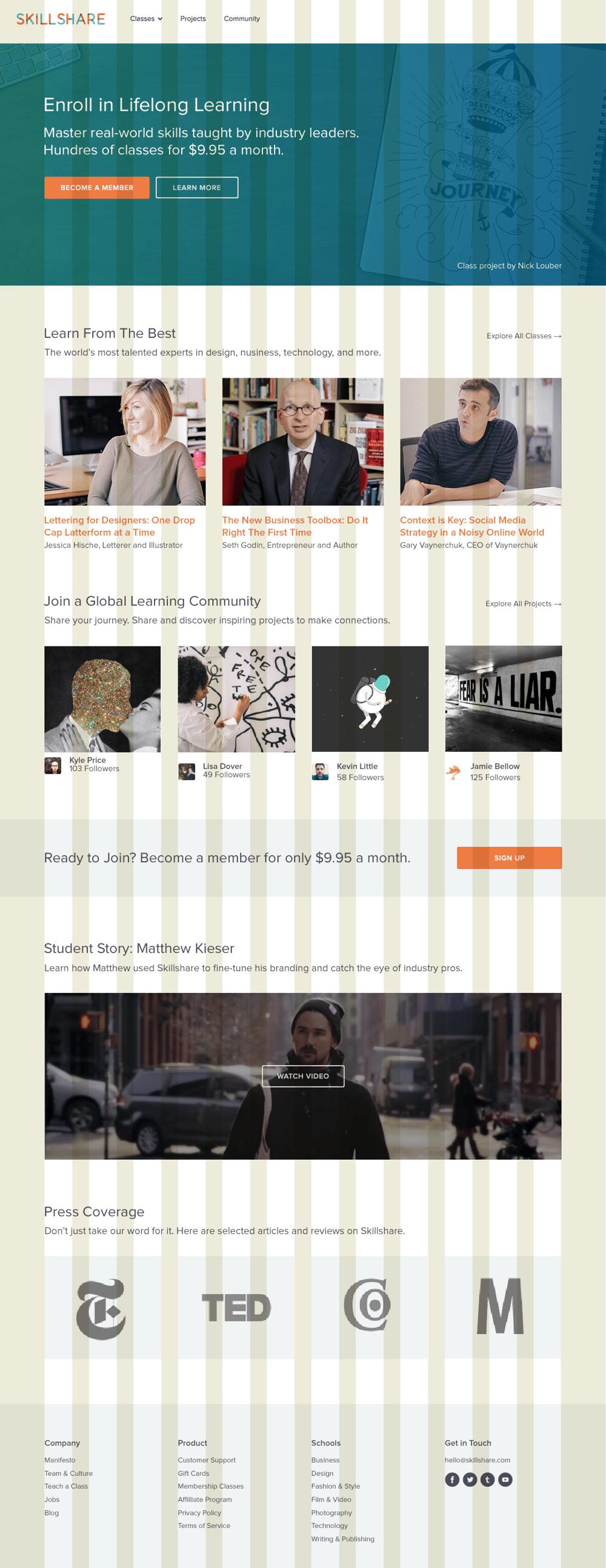 Skillshare's Responsive Homepage - image 1 - student project