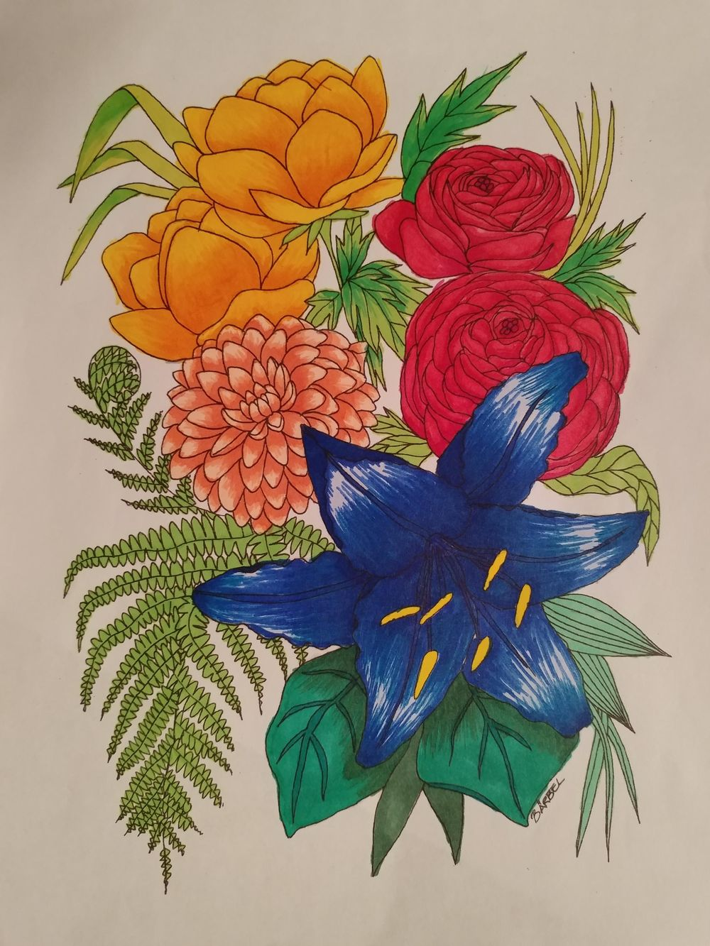 Colored flowers - image 1 - student project