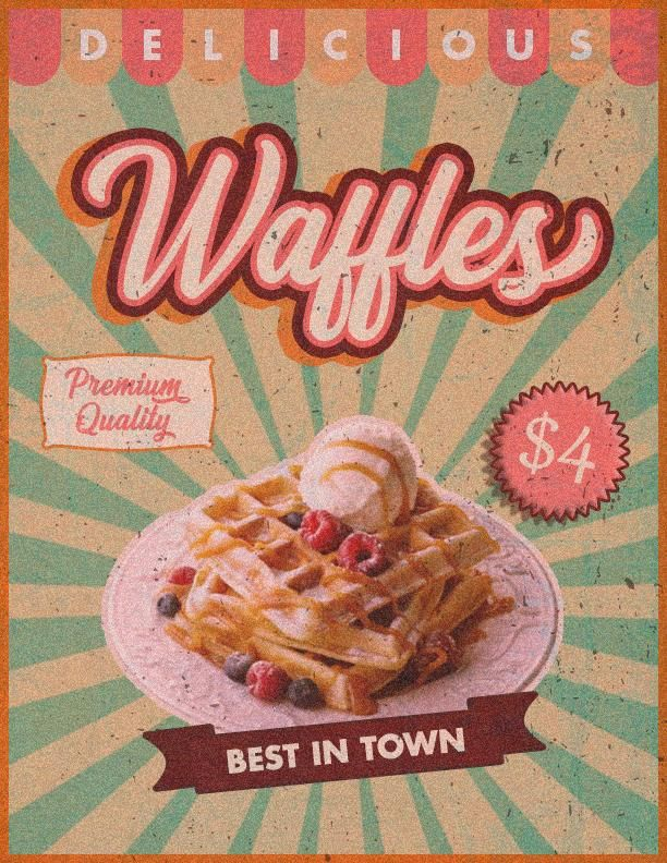 Waffles Retro Poster - image 1 - student project