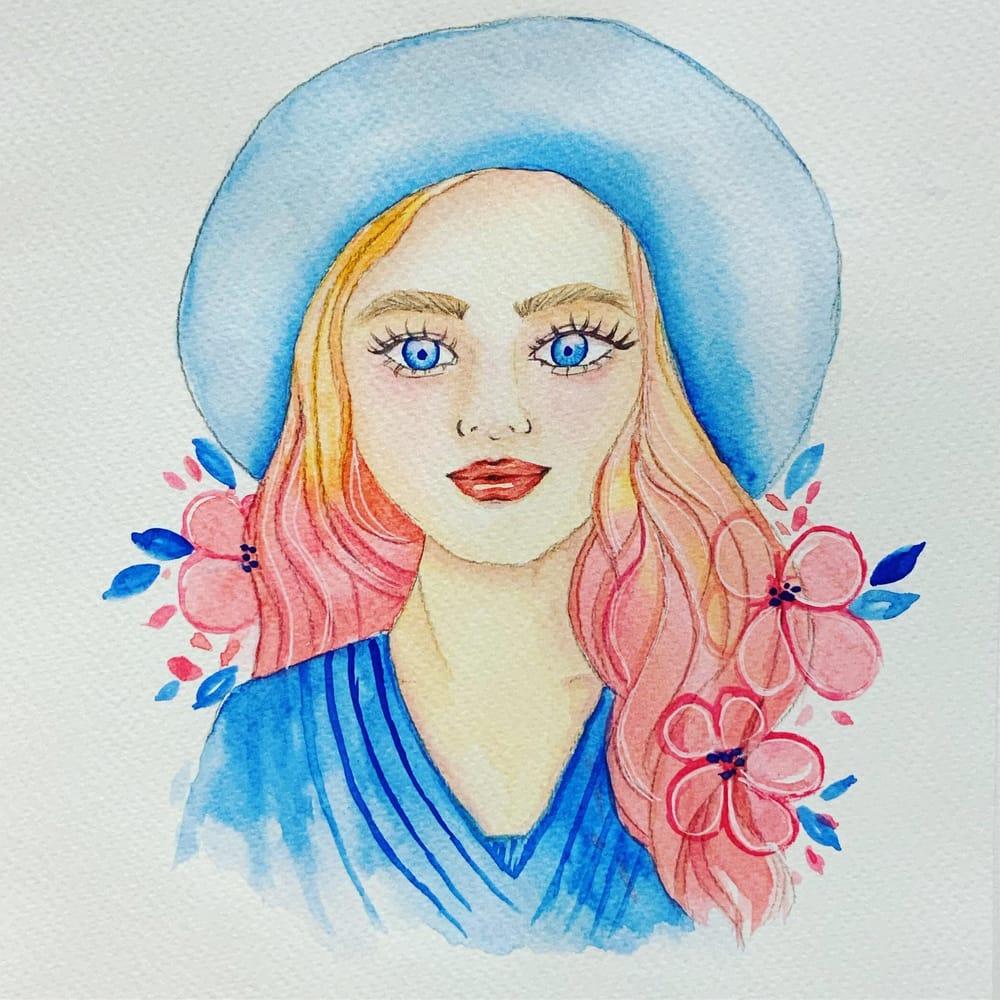 Watercolor portrait - image 1 - student project
