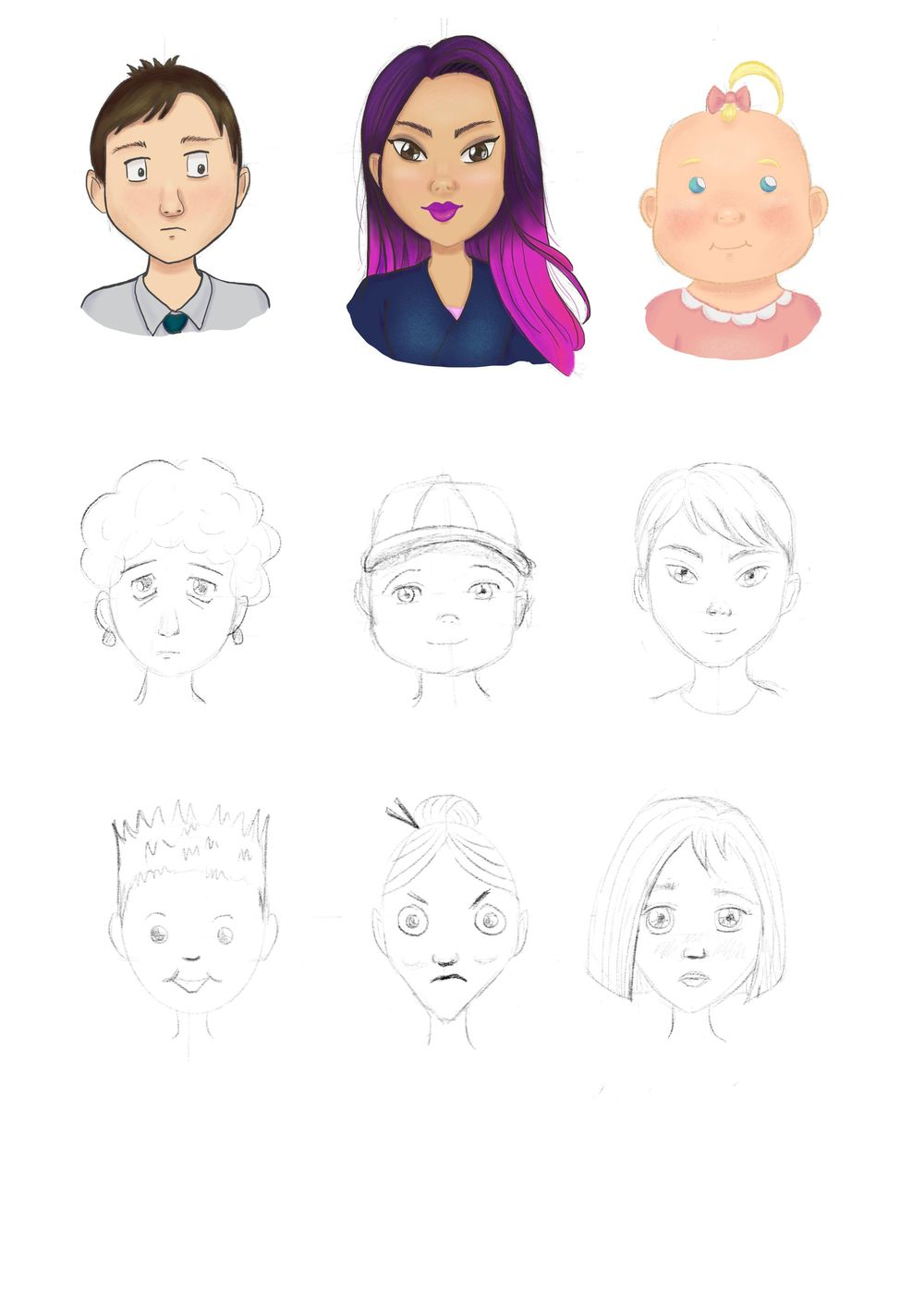 Characters drawn  and colored in Procreate - image 1 - student project