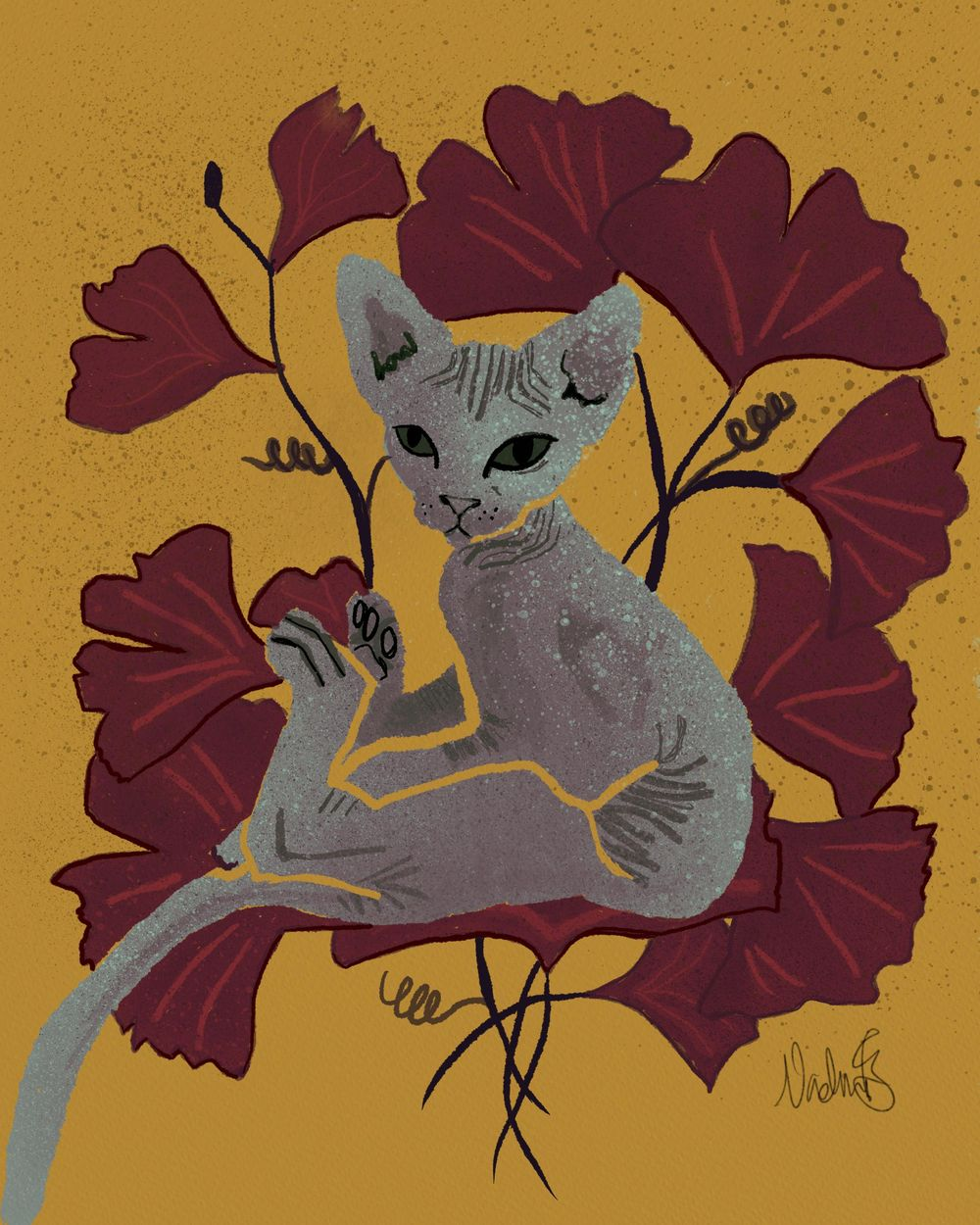 Sphynx with Ginko - image 1 - student project