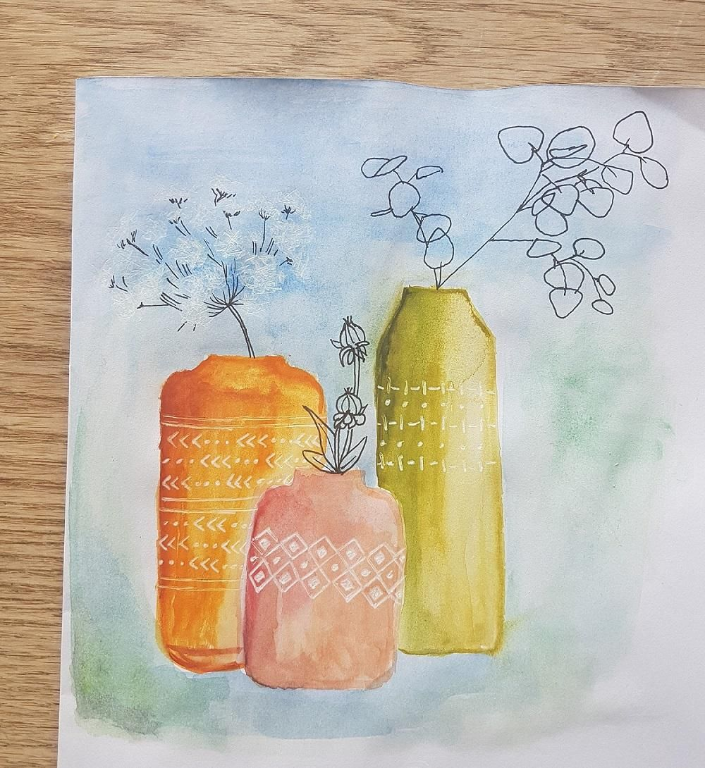 Vases - watercolor and pen - image 1 - student project
