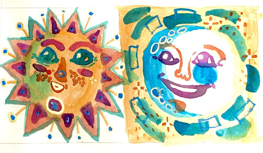 Watercolor sun & moon - image 1 - student project