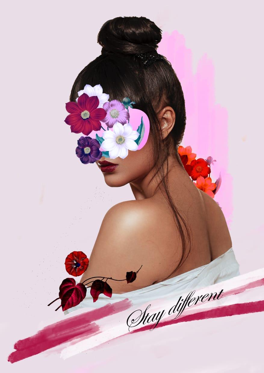 Digital collage: Floral Portrait - image 1 - student project