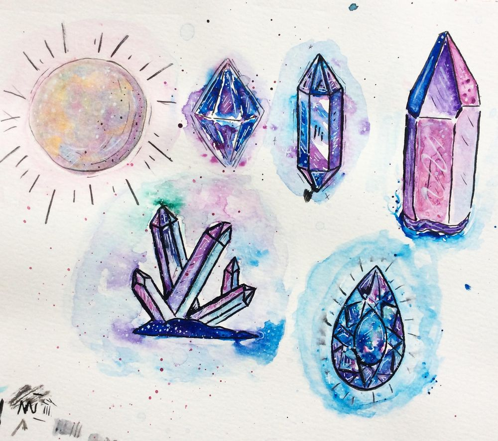 Attempting Crystals in Watercolour - image 1 - student project