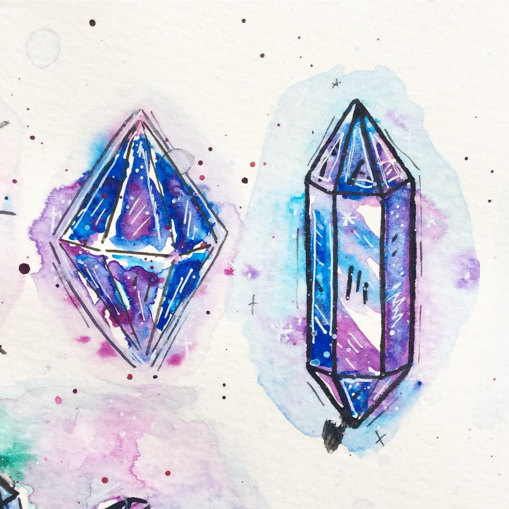 Attempting Crystals in Watercolour - image 2 - student project