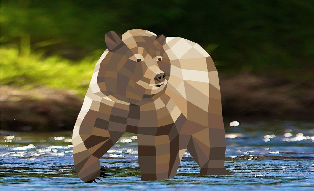 Low Poly Design - Bear - image 1 - student project