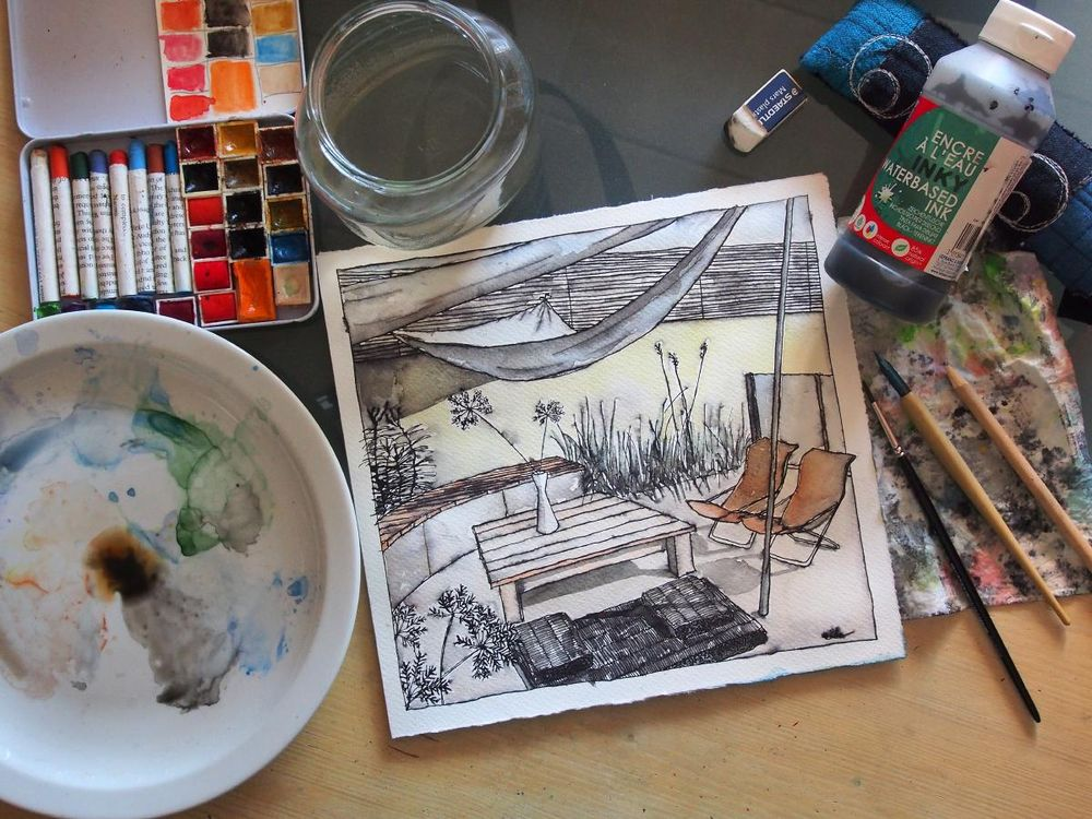 Inking & Watercolour Secrets of Interior Sketching a few pictures from the process. - image 3 - student project