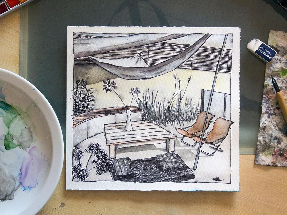 Inking & Watercolour Secrets of Interior Sketching a few pictures from the process. - image 1 - student project
