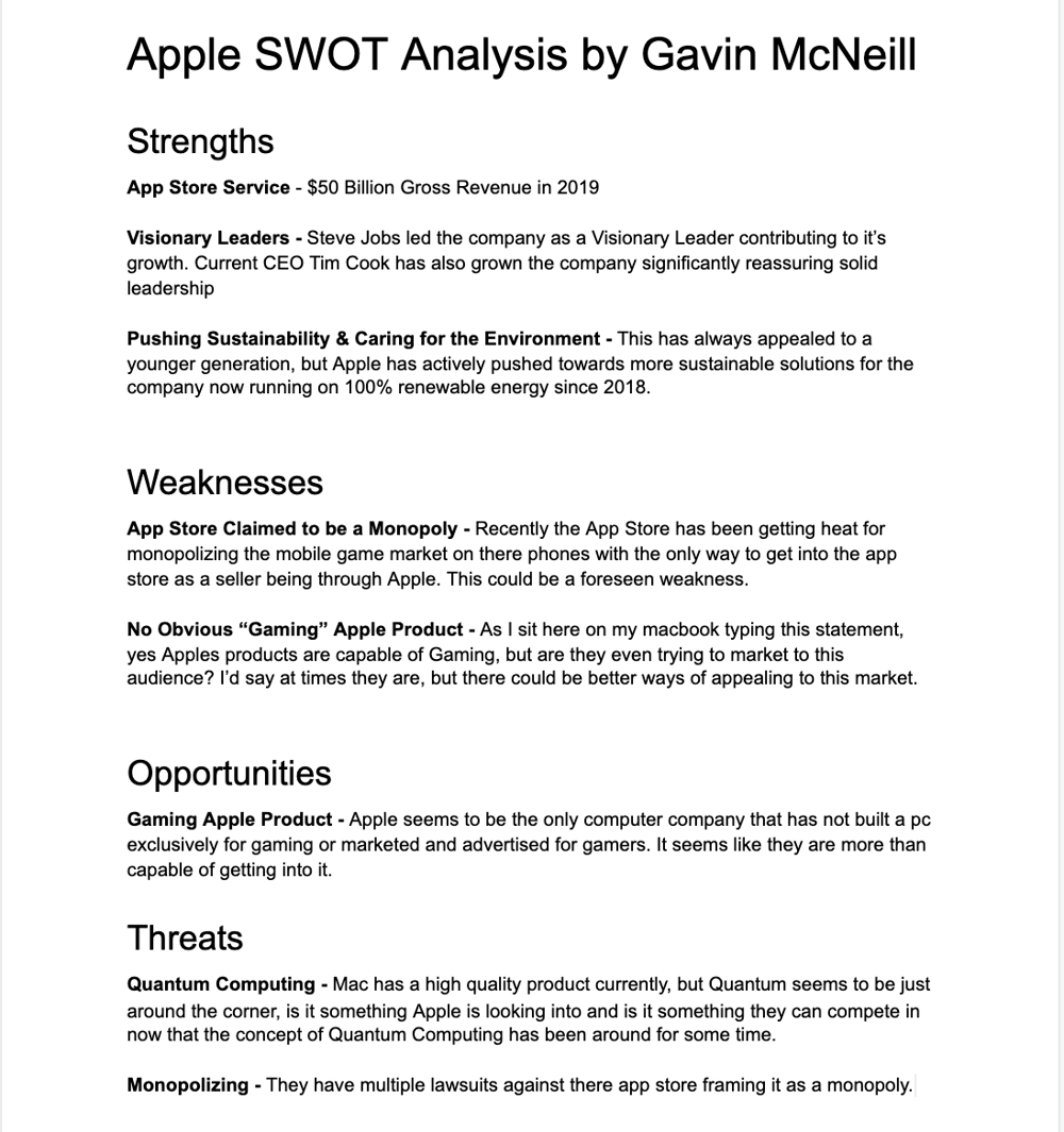 Apple SWOT Assignment - image 1 - student project