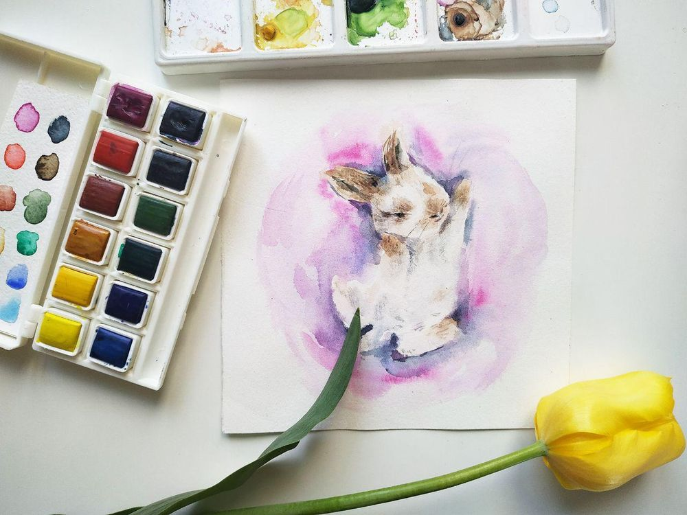Watercolor bunnies - image 2 - student project