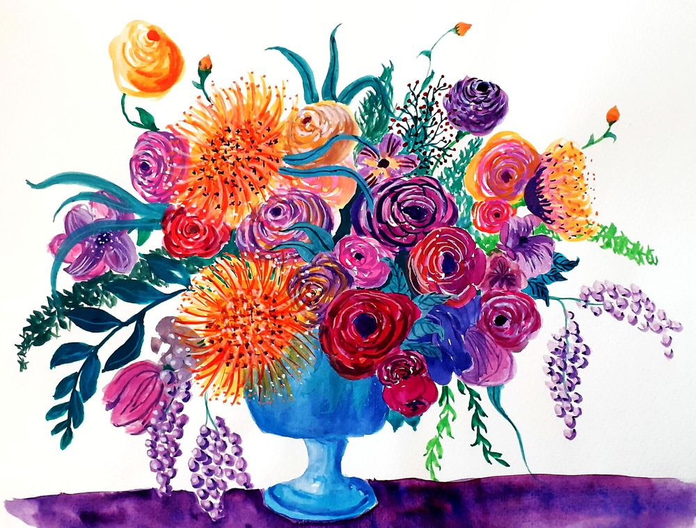 First Attempt with Gouache Flowers - image 1 - student project