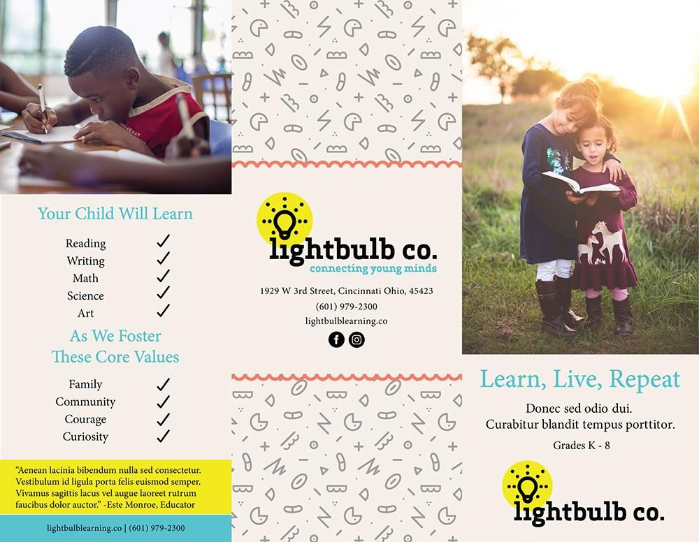 Lightbulb Co. Trifold Brochure - image 1 - student project