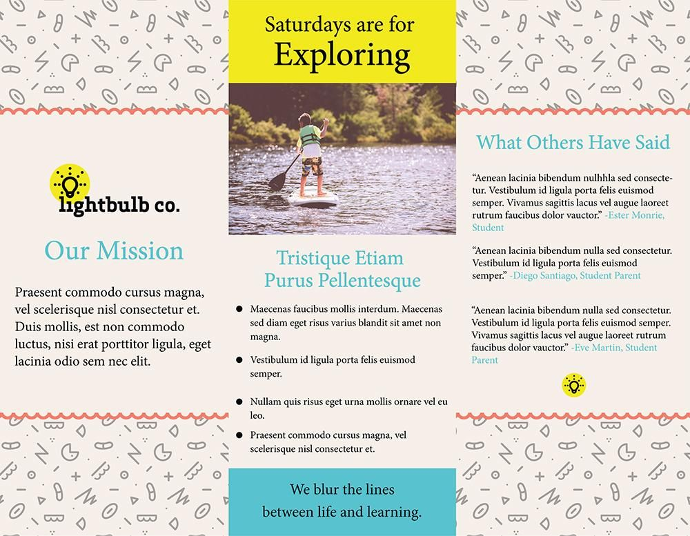 Lightbulb Co. Trifold Brochure - image 2 - student project