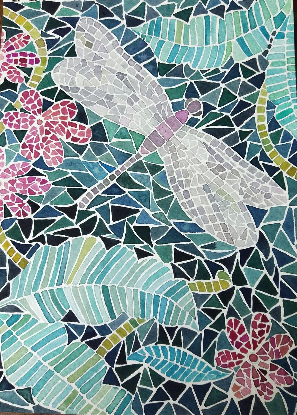 watercolour mosaic painting - image 1 - student project