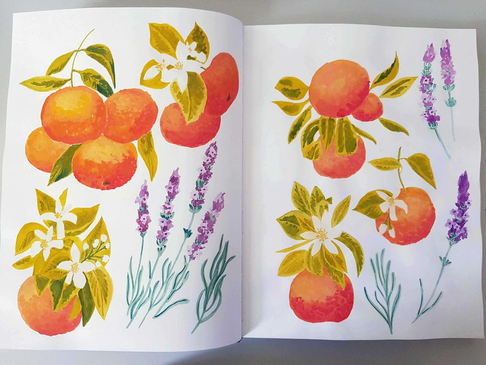 Gouache fruits patterns - image 2 - student project