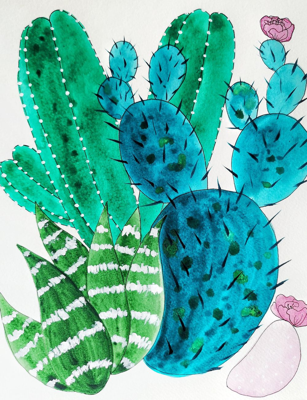 Watercolor and Ink Cacti - image 1 - student project