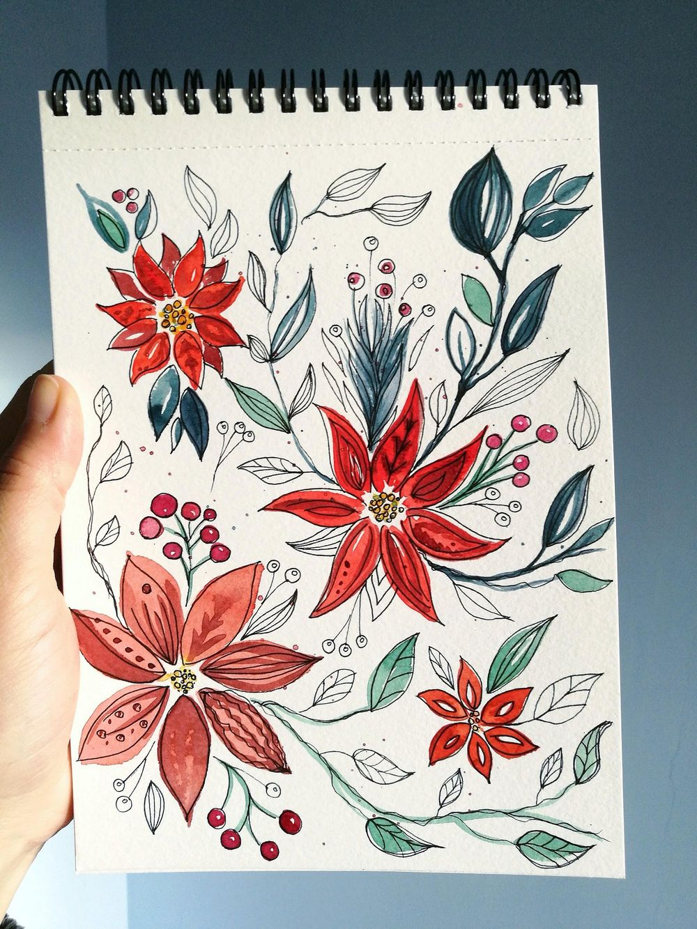 Watercolor Poinsettia - image 2 - student project