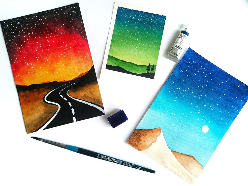 Watercolor Galaxies Polaroid Styles - image 1 - student project