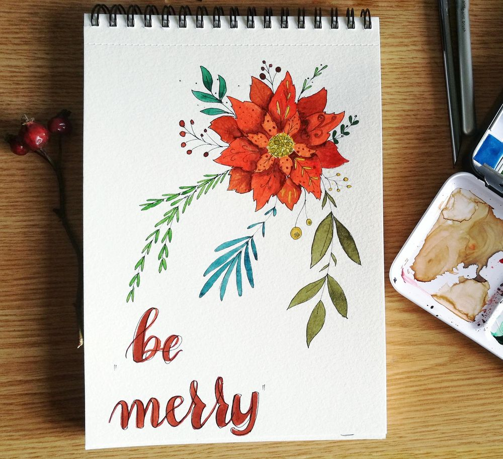 Watercolor Poinsettia - image 1 - student project