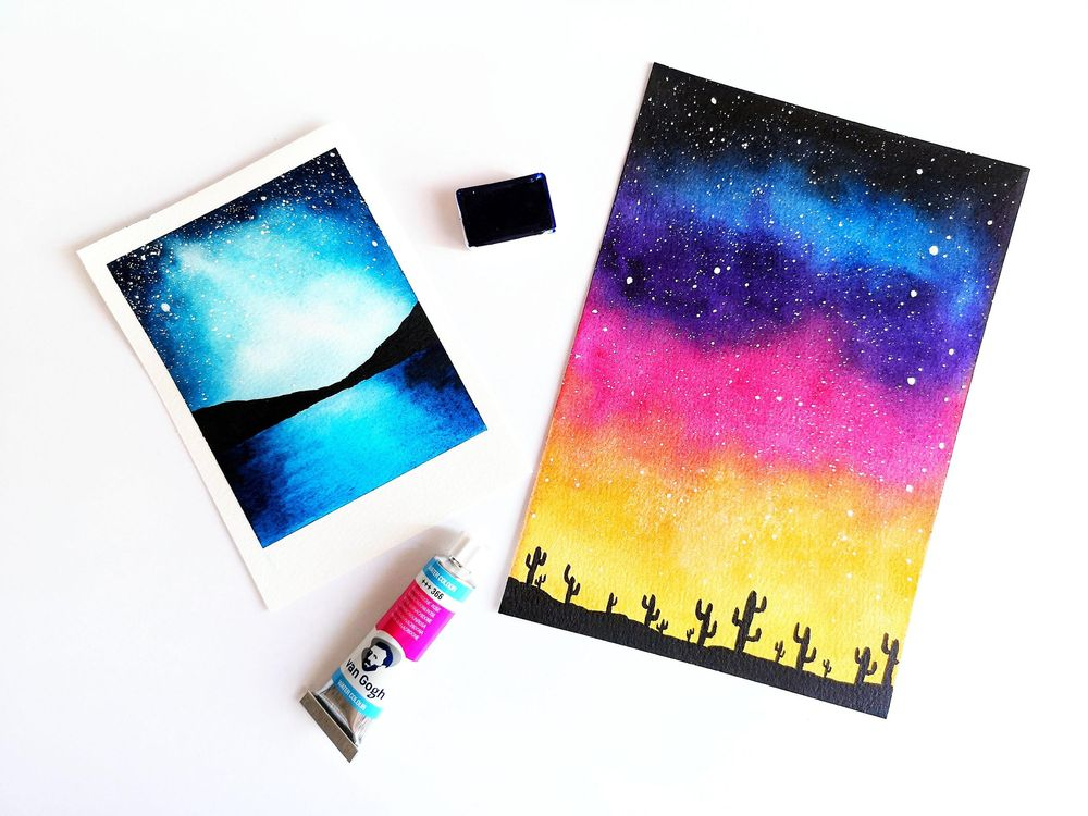 Watercolor Galaxies Polaroid Styles - image 2 - student project