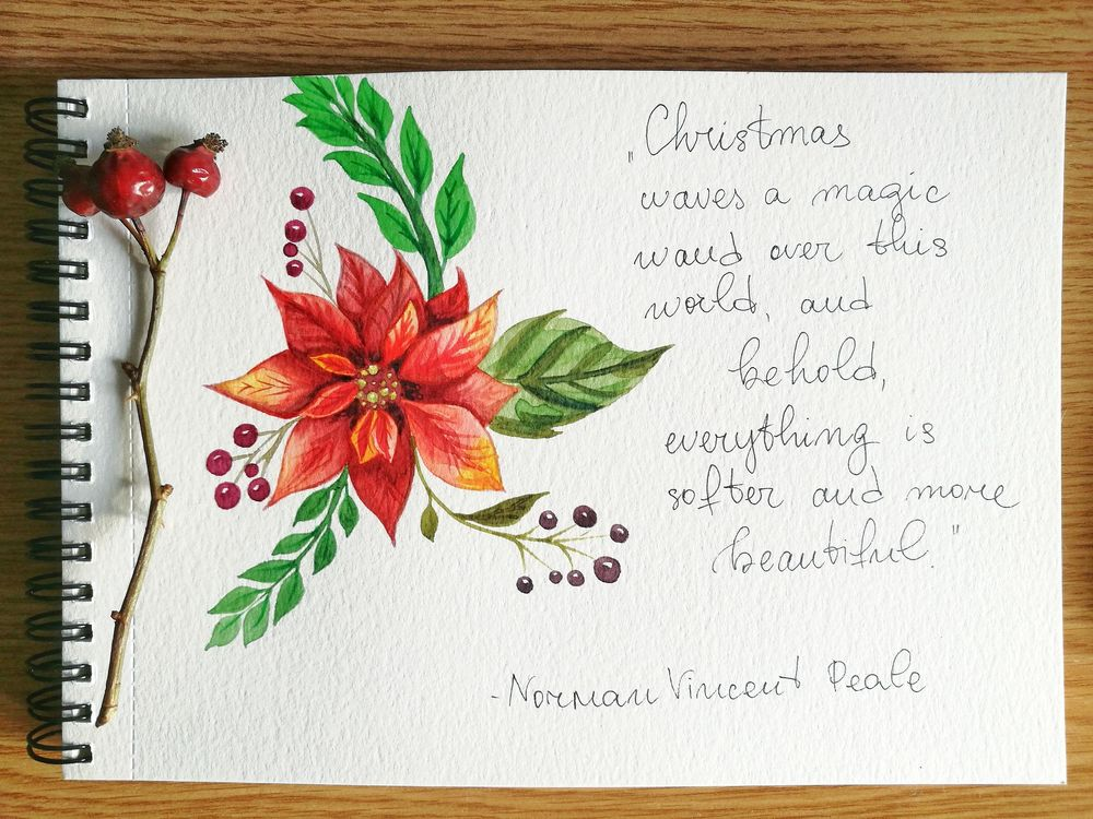 Watercolor Poinsettia - image 3 - student project