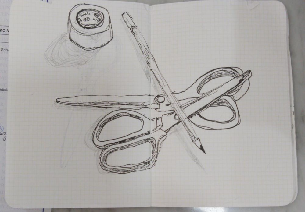two scissors, a pencil and a roll of tape - image 1 - student project