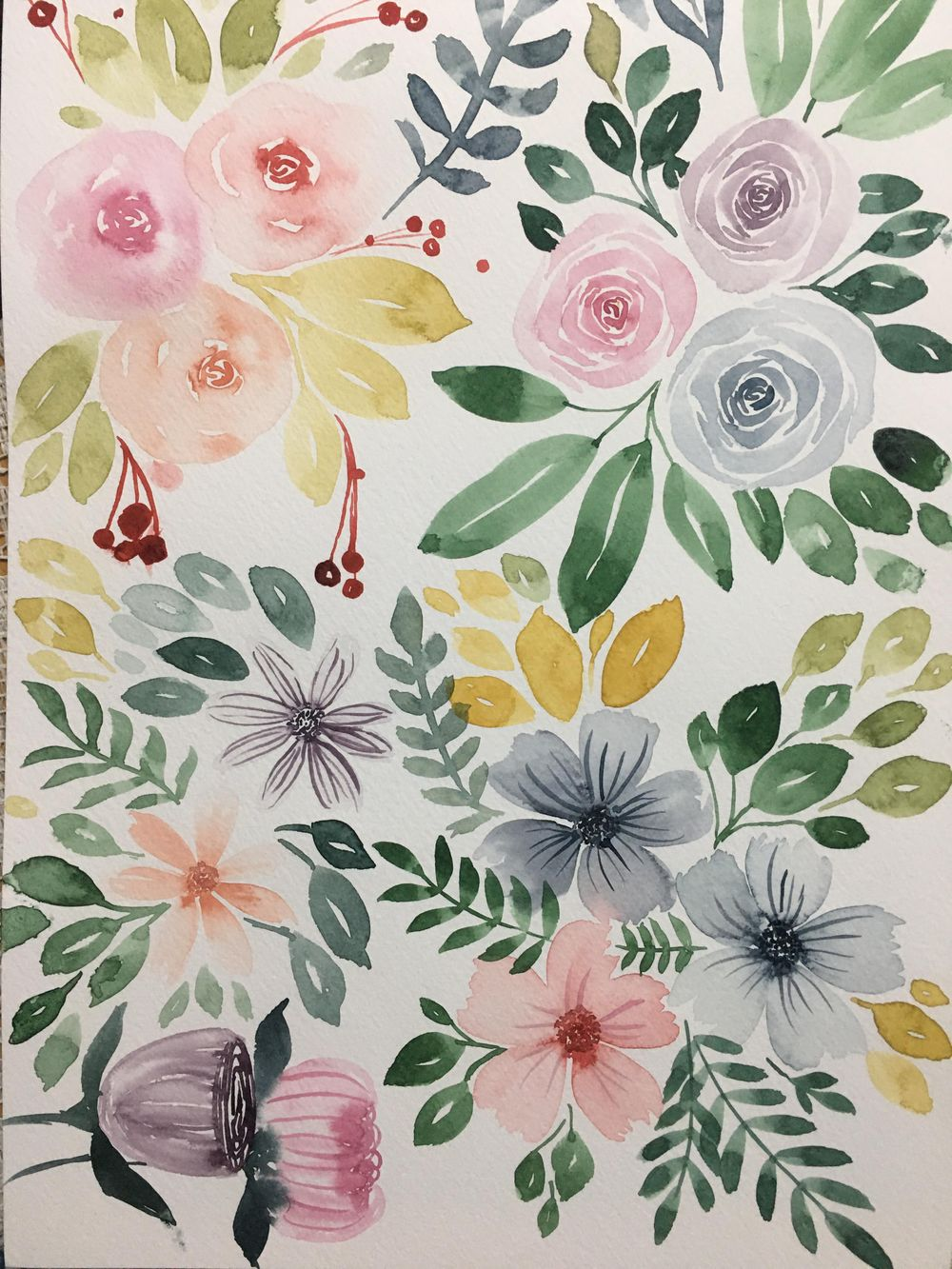 Loose Watercolor Florals: Create Beautiful DIY Name Cards - image 1 - student project