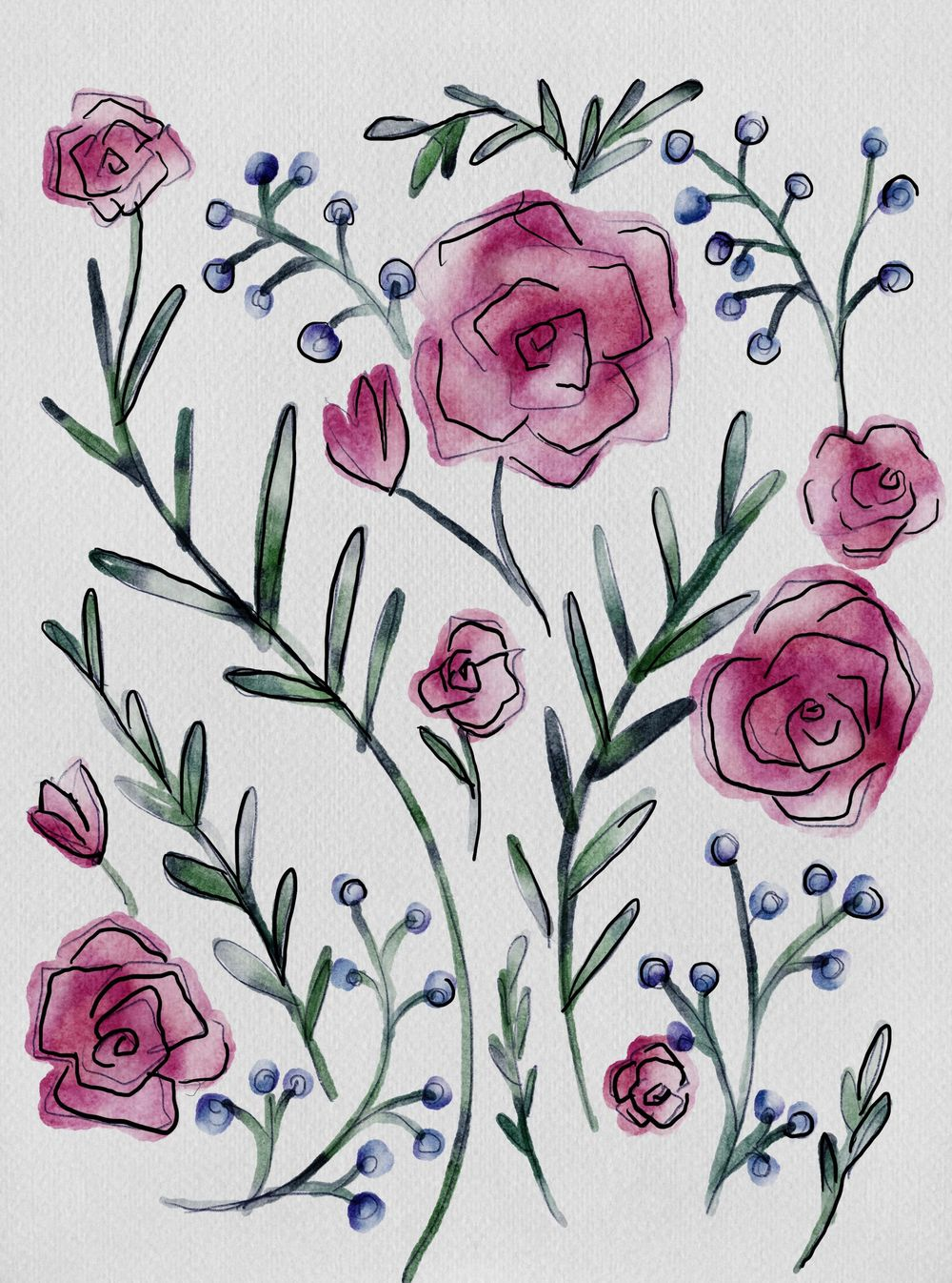 Spring floral watercolor - image 1 - student project