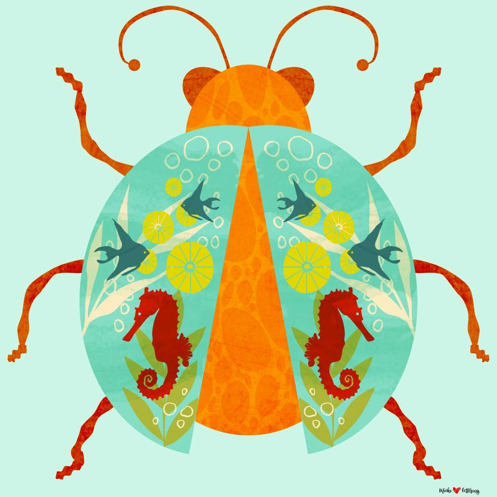 Modern Folk Art Insect Illustrations in Affinity Designer for iPad - image 2 - student project