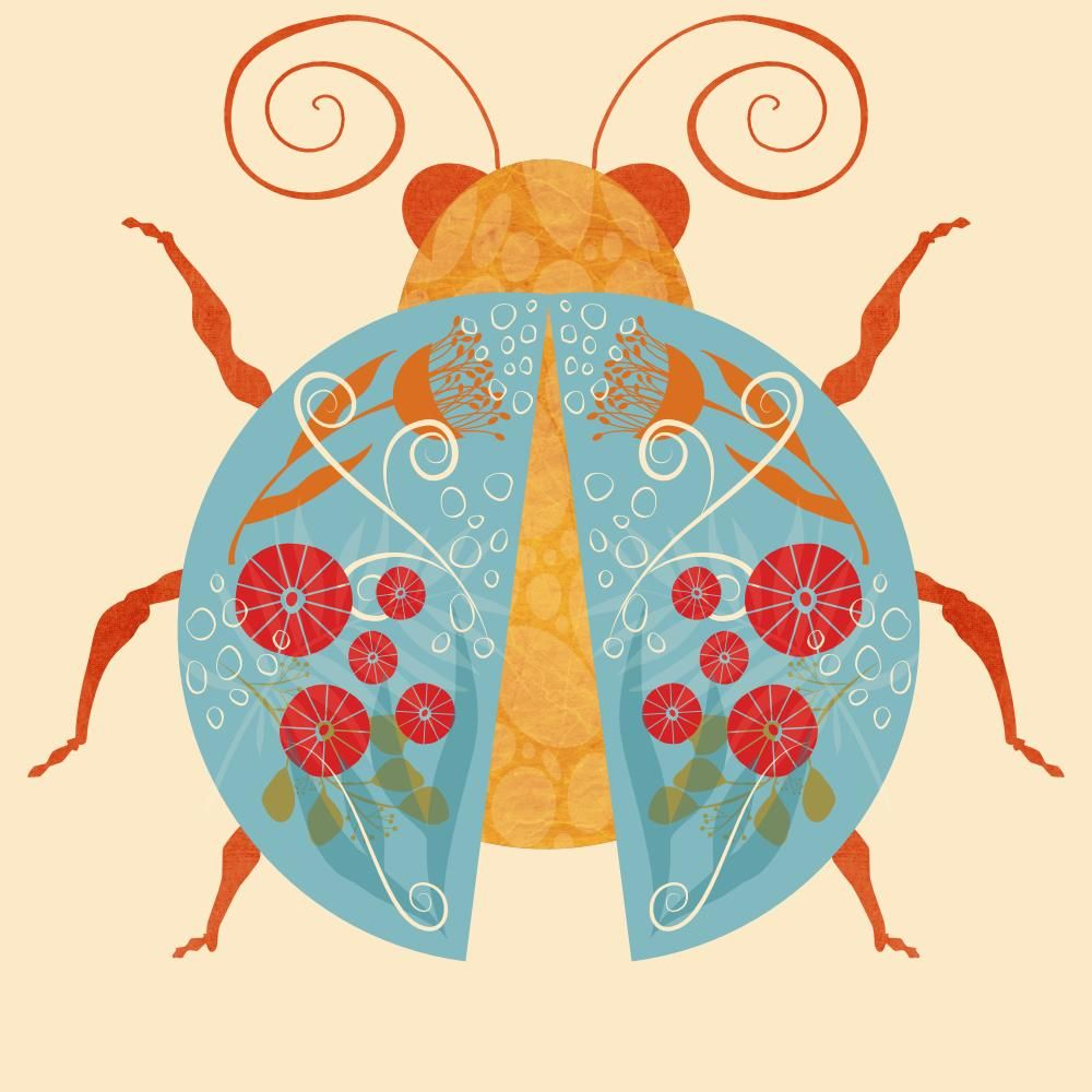 Modern Folk Art Insect Illustrations in Affinity Designer for iPad - image 1 - student project