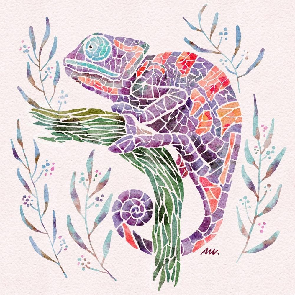 Watercolor Mosaic Chameleon - image 1 - student project