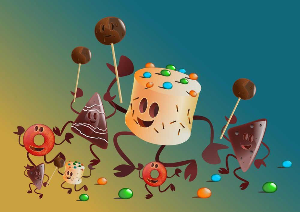 Vector illustration, dancing pastry - image 2 - student project