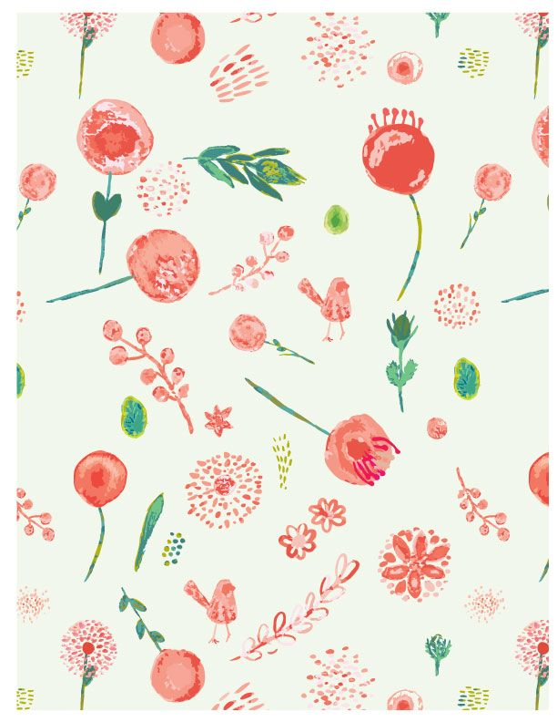 Watercolour for Surface Pattern Design - image 4 - student project