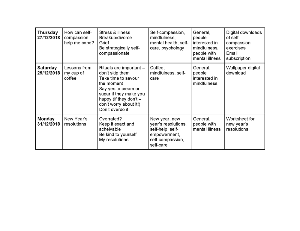 Content calendar - image 2 - student project
