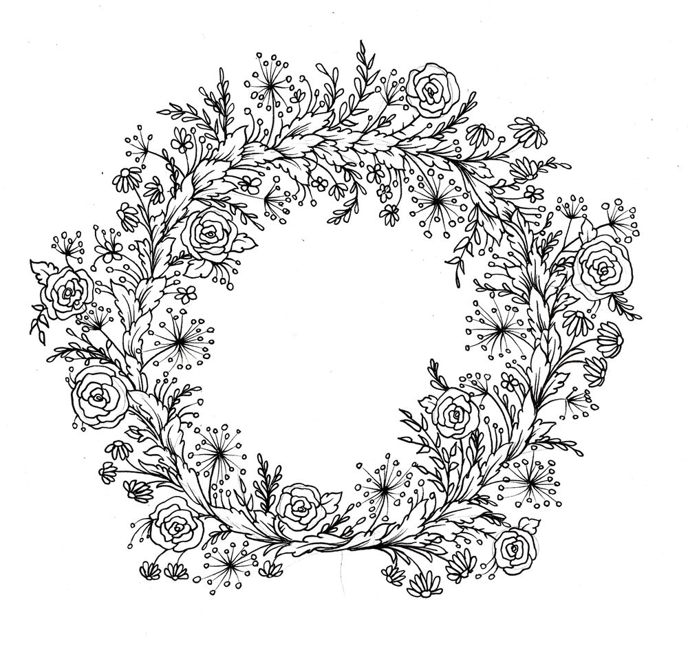Floral wreath for greeting card - image 1 - student project