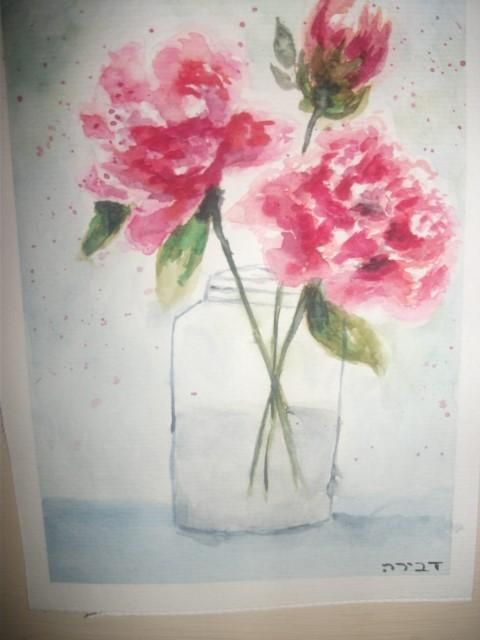 watercolor peonies - image 1 - student project