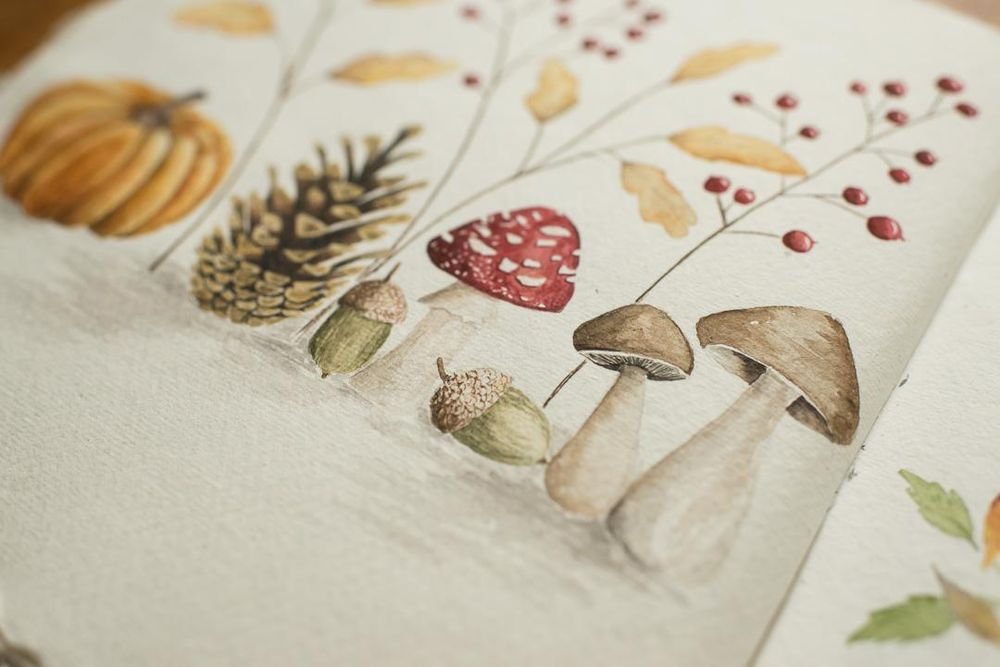 Adorable Fall Elements in Watercolor - image 3 - student project