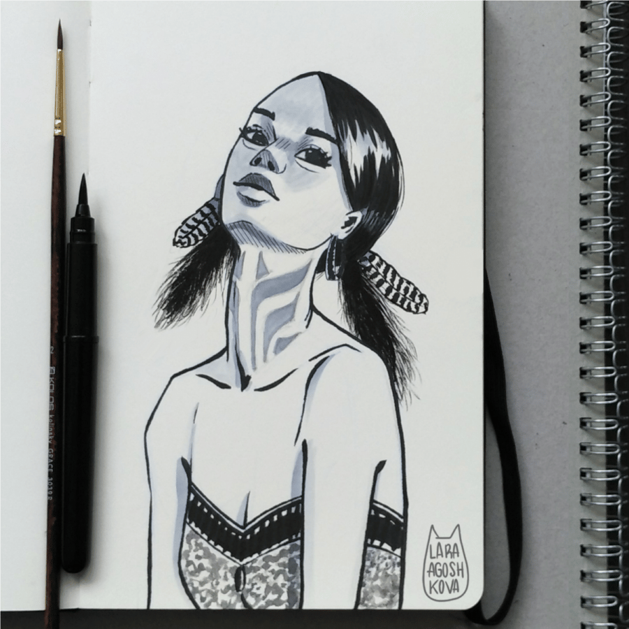 Girl portrait with ink - image 1 - student project