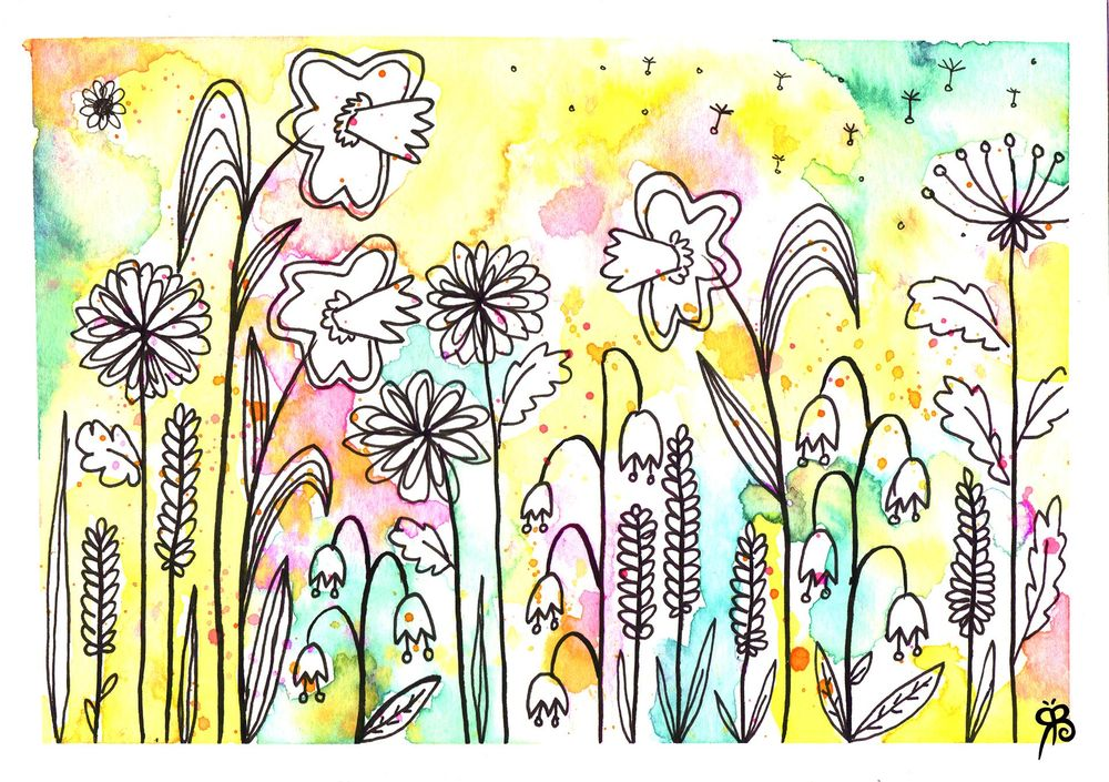 Watercolour and Ink Florals - image 1 - student project