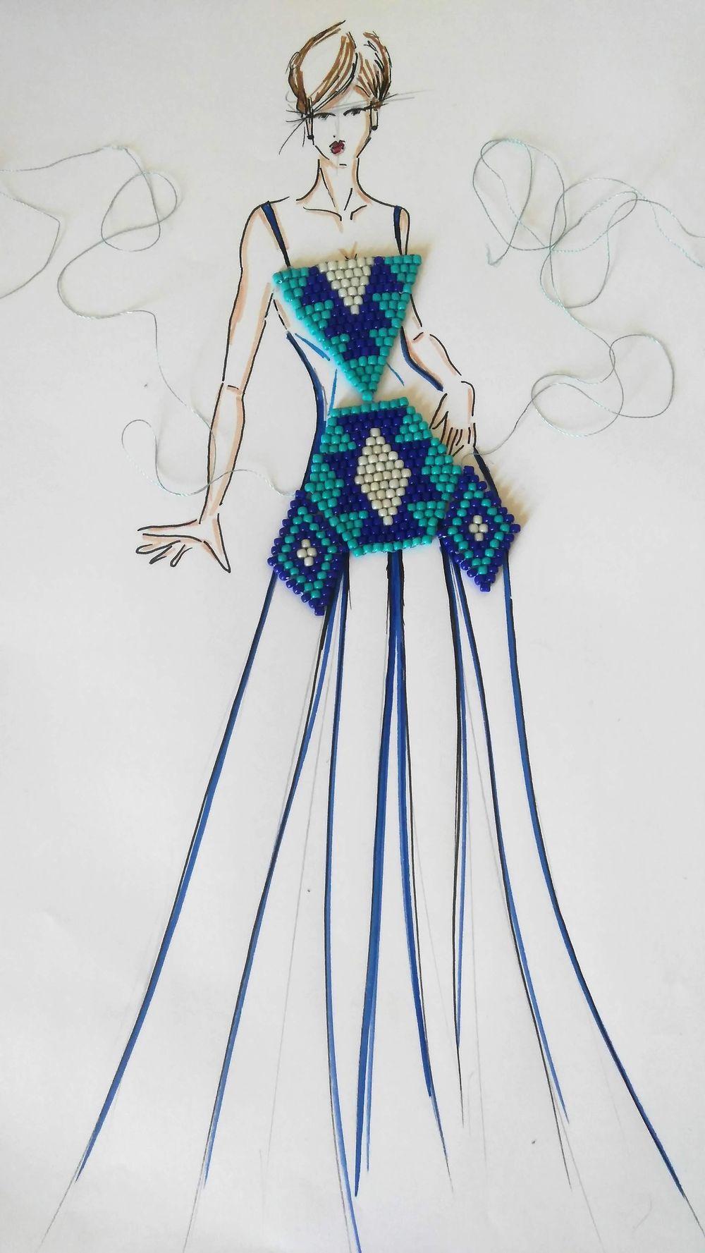 Beaded fashion illustration - image 1 - student project