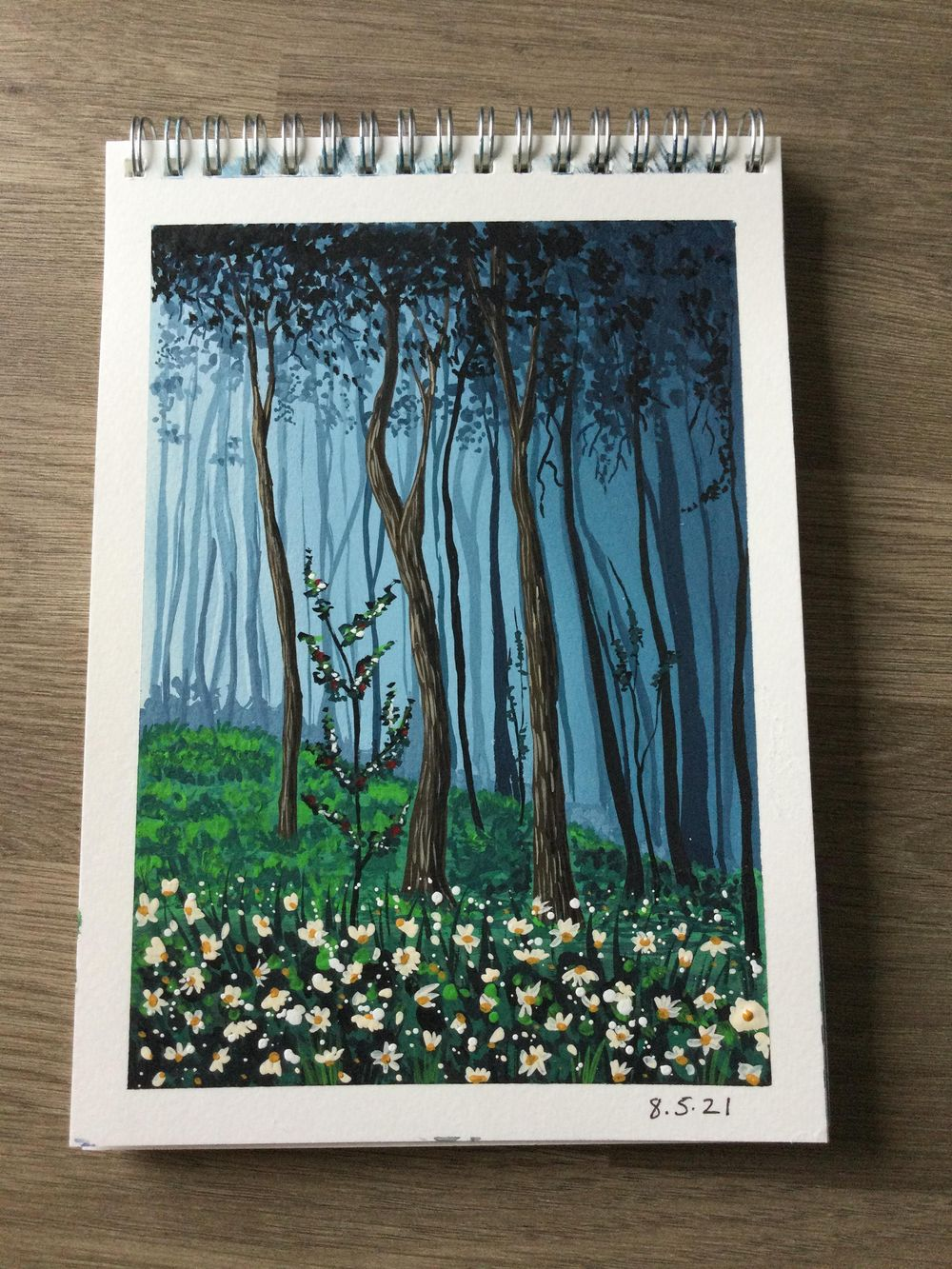 Gouache Forrest with daisies - image 1 - student project