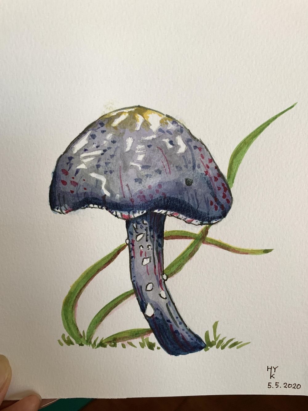 mushroom and fern painting - image 3 - student project