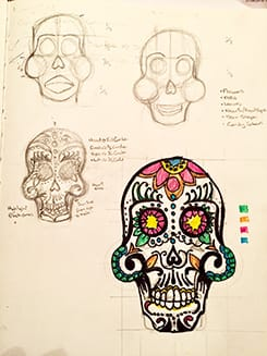 Day of the Dead Skull (Real Time Mirror Drawing ) - image 1 - student project
