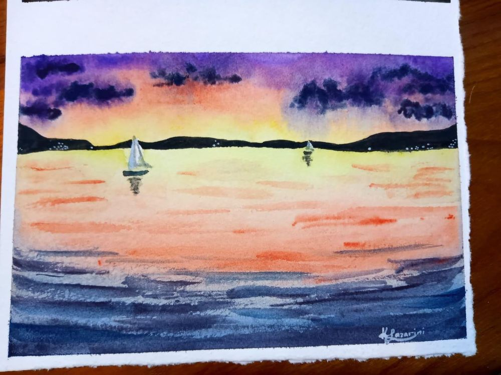 Sunset sea - image 1 - student project